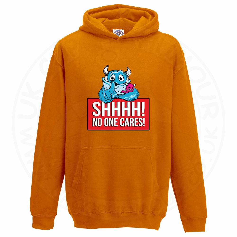Kids SHHHH NO ONE CARES Hoodie - Orange, 12-13 Years