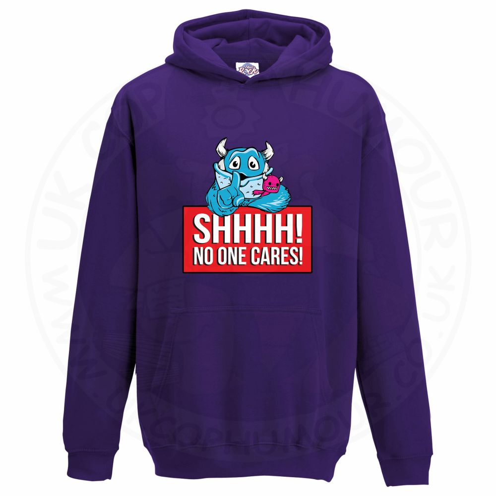 Kids SHHHH NO ONE CARES Hoodie - Purple, 12-13 Years