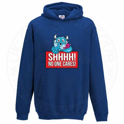 Kids SHHHH NO ONE CARES Hoodie - Royal Blue, 12-13 Years