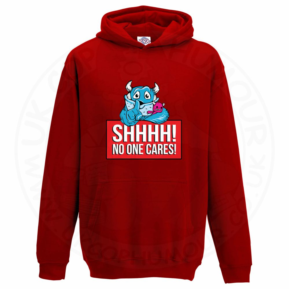 Kids SHHHH NO ONE CARES Hoodie - Red, 12-13 Years