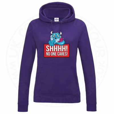 Ladies SHHHH NO ONE CARES Hoodie - Purple, 18