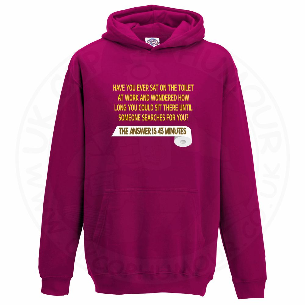 Kids TOILET SEARCH  Hoodie - Hot Pink, 12-13 Years