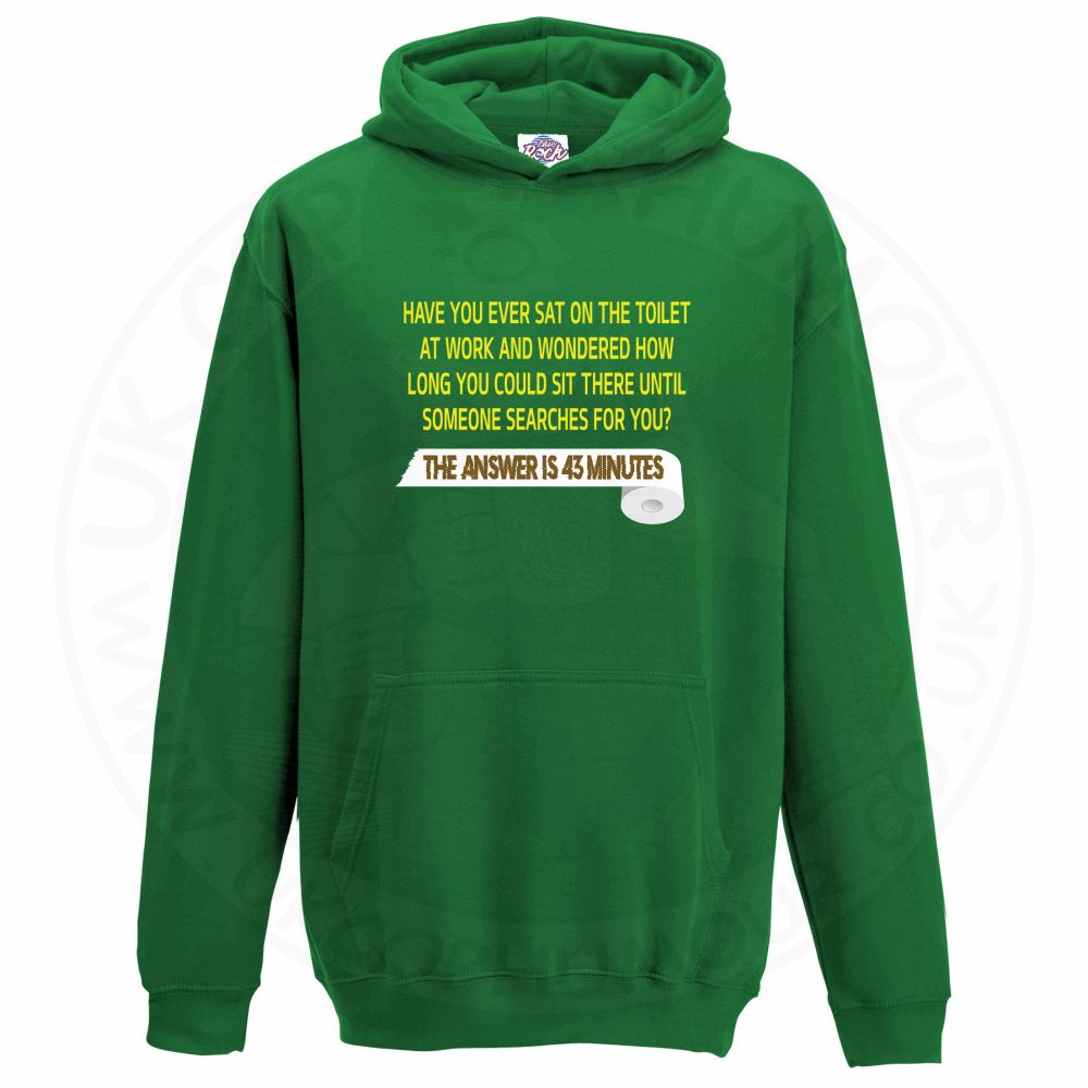 Kids TOILET SEARCH  Hoodie - Kelly Green, 12-13 Years