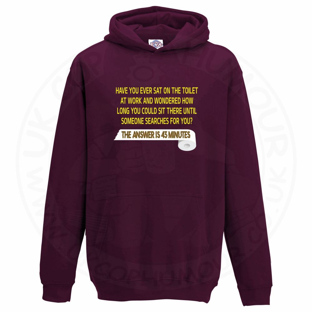 Kids TOILET SEARCH  Hoodie - Maroon, 12-13 Years