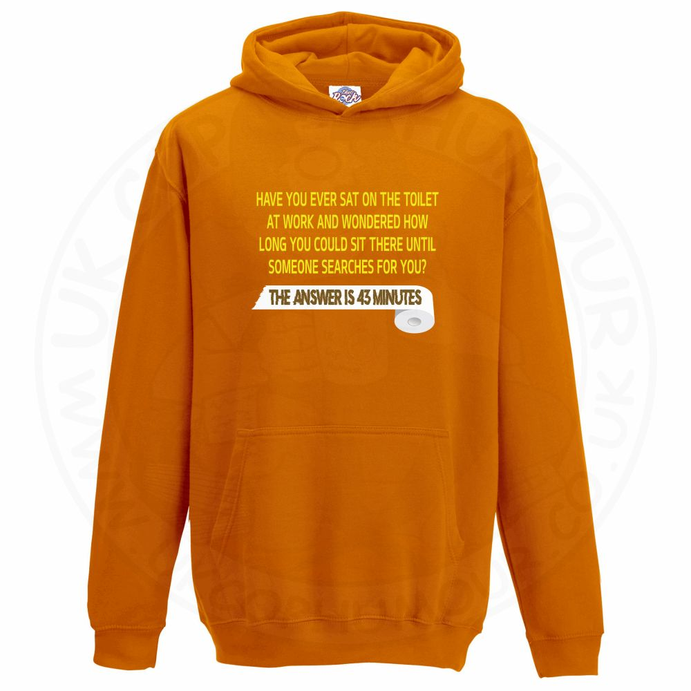Kids TOILET SEARCH  Hoodie - Orange, 12-13 Years