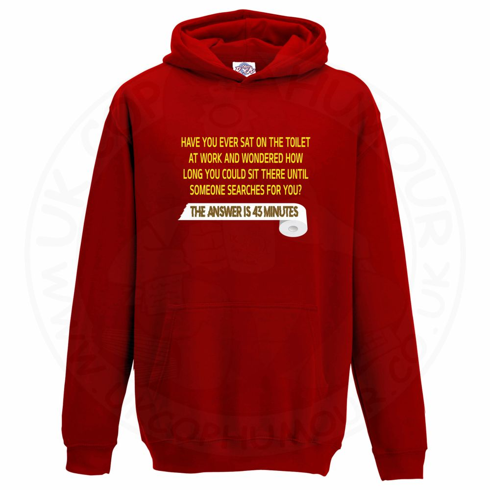 Kids TOILET SEARCH  Hoodie - Red, 12-13 Years
