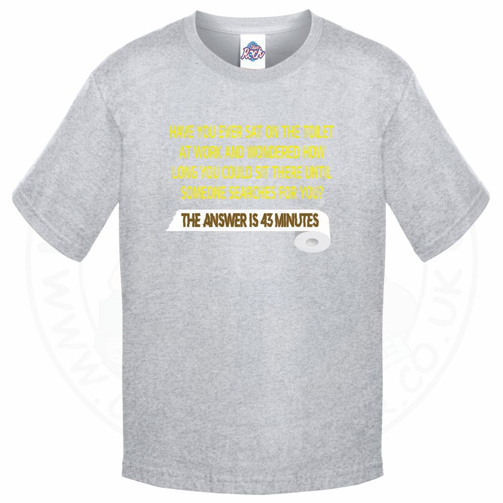 Kids TOILET SEARCH  T-Shirt - Grey, 12-13 Years