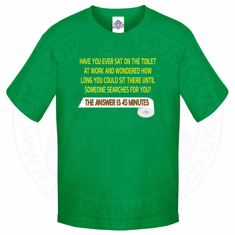 Kids TOILET SEARCH  T-Shirt - Kelly Green, 12-13 Years