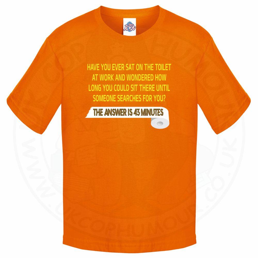 Kids TOILET SEARCH  T-Shirt - Orange, 12-13 Years