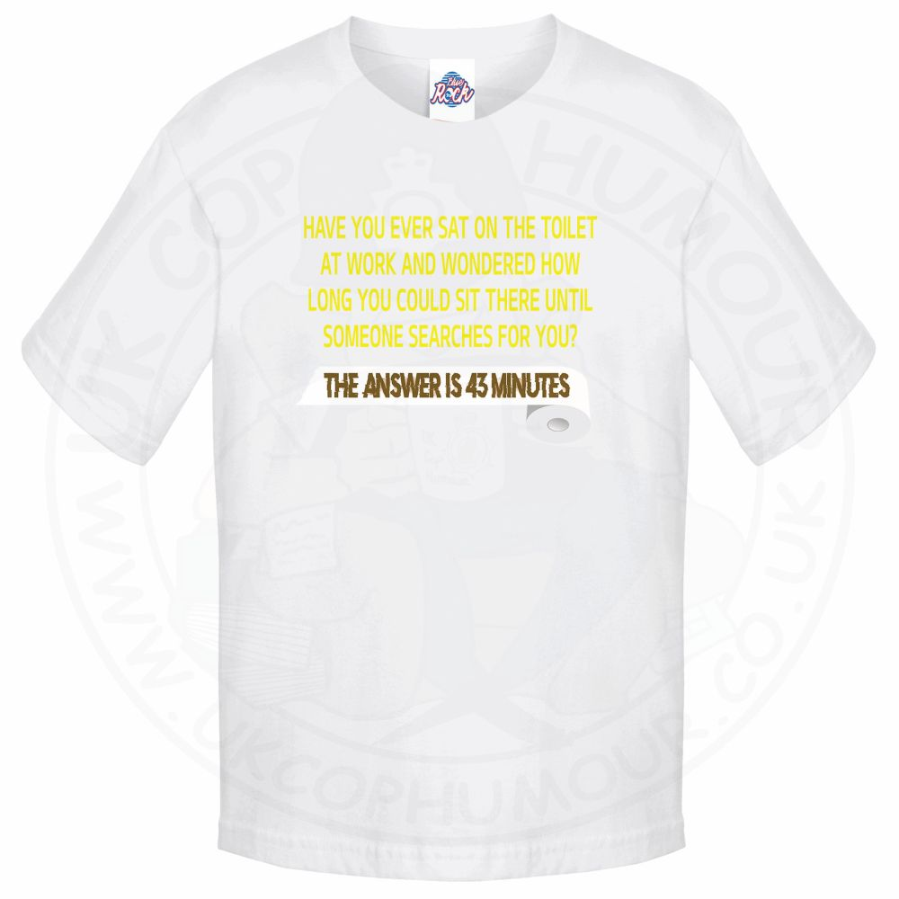 Kids TOILET SEARCH  T-Shirt - White, 12-13 Years