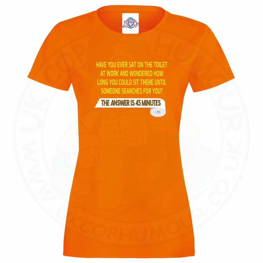 Ladies TOILET SEARCH  T-Shirt - Orange, 18