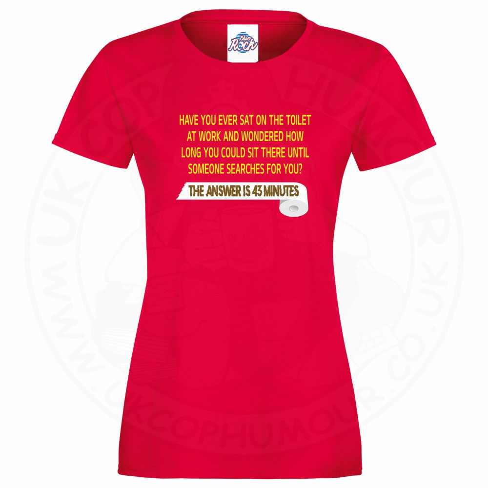 Ladies TOILET SEARCH  T-Shirt - Red, 18