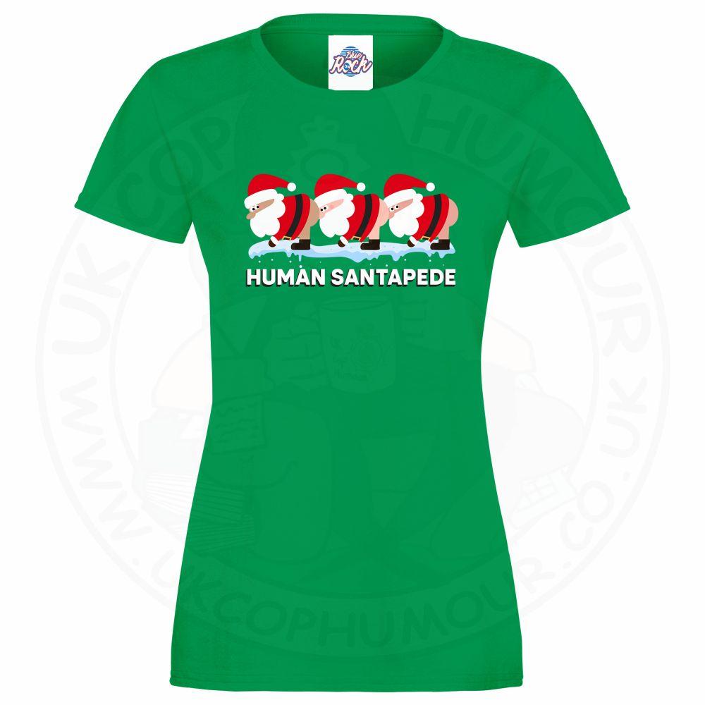 Ladies HUMAN SANTAPEDE T-Shirt - Kelly Green, 18
