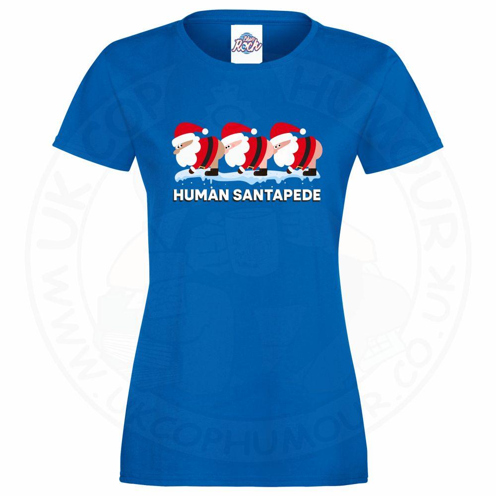 Ladies HUMAN SANTAPEDE T-Shirt - Royal Blue, 18
