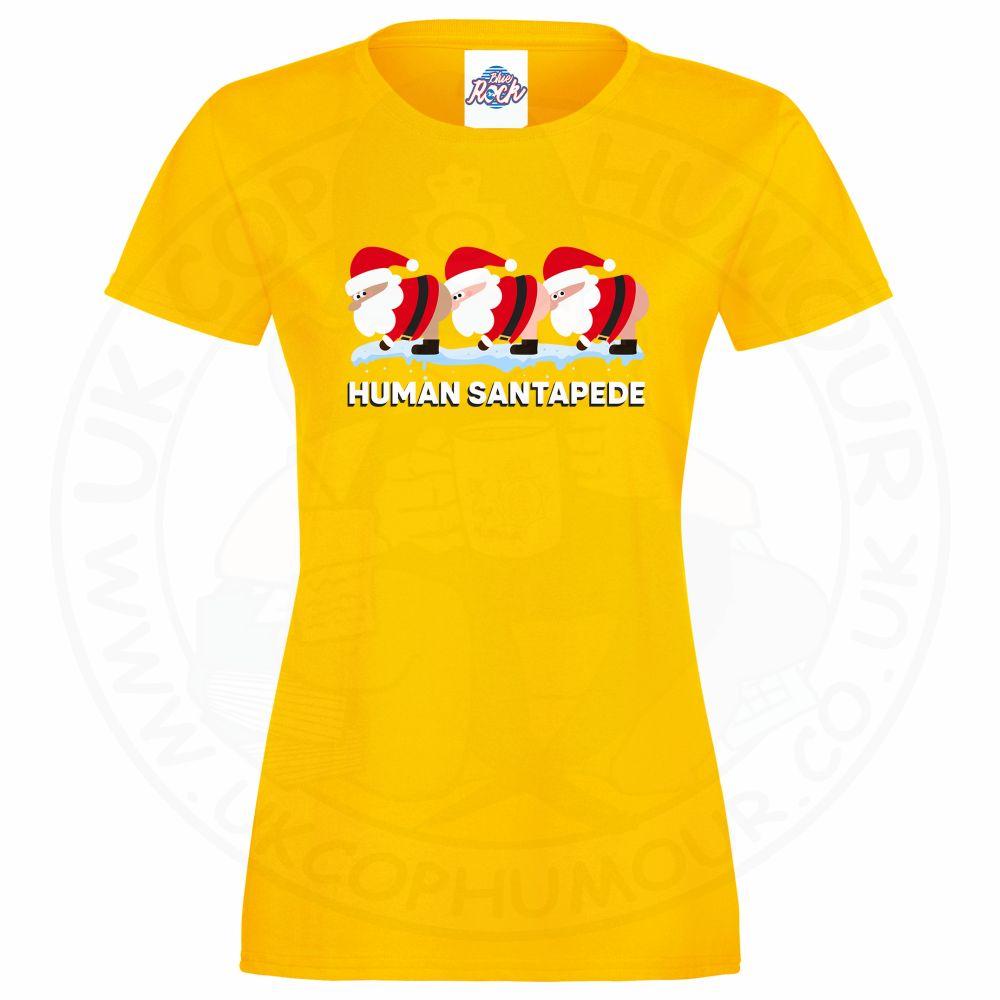 Ladies HUMAN SANTAPEDE T-Shirt - Yellow, 18