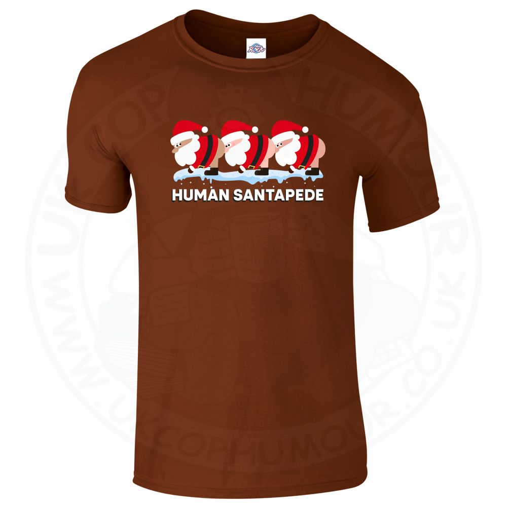 Mens HUMAN SANTAPEDE T-Shirt - Chestnut, 2XL
