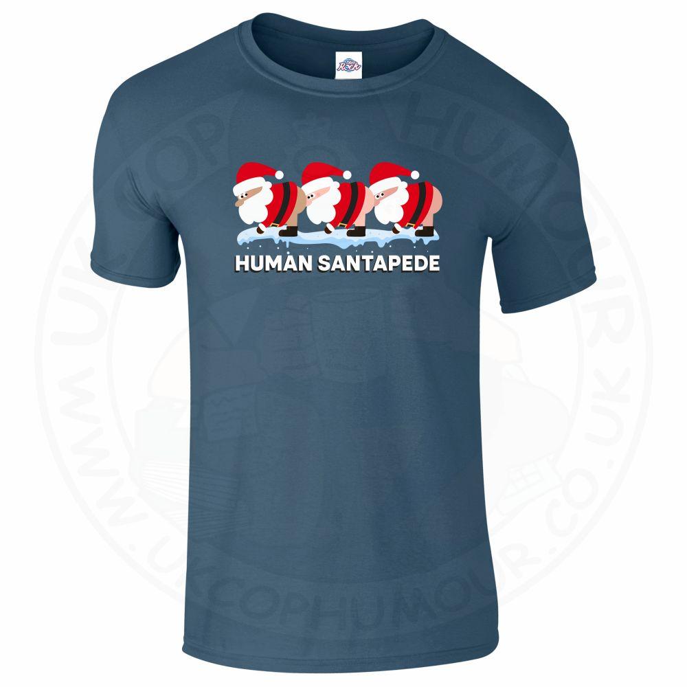 Mens HUMAN SANTAPEDE T-Shirt - Indigo Blue, 2XL