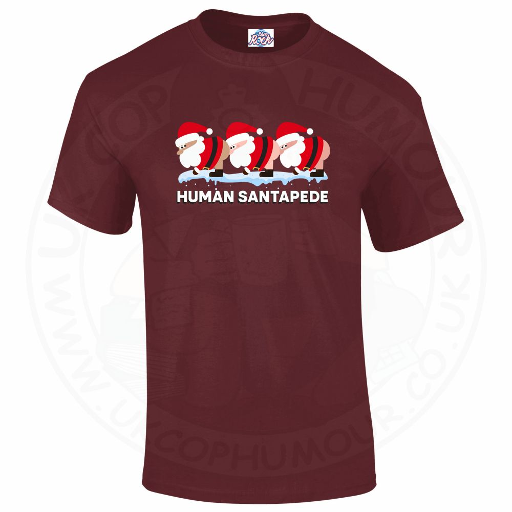 Mens HUMAN SANTAPEDE T-Shirt - Maroon, 2XL
