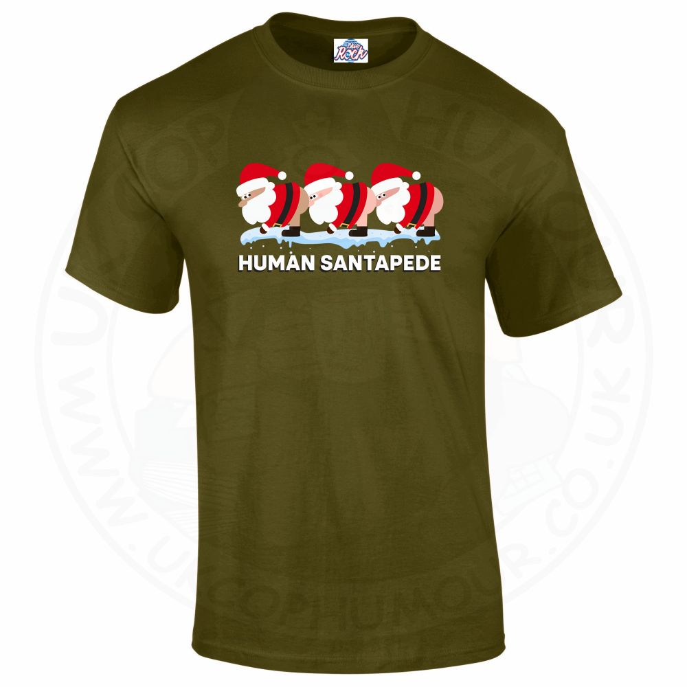Mens HUMAN SANTAPEDE T-Shirt - Military Green, 2XL