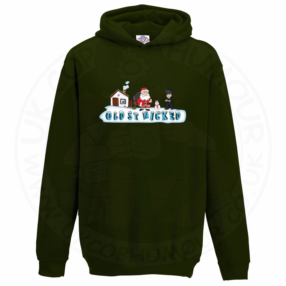 Kids OLD ST NICKED Hoodie - Bottle Green, 12-13 Years