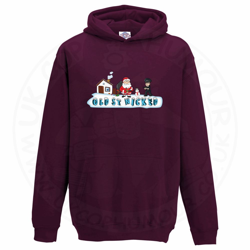 Kids OLD ST NICKED Hoodie - Maroon, 12-13 Years