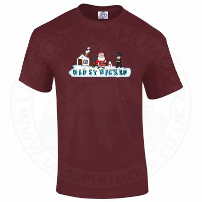 Mens OLD ST NICKED T-Shirt - Maroon, 2XL