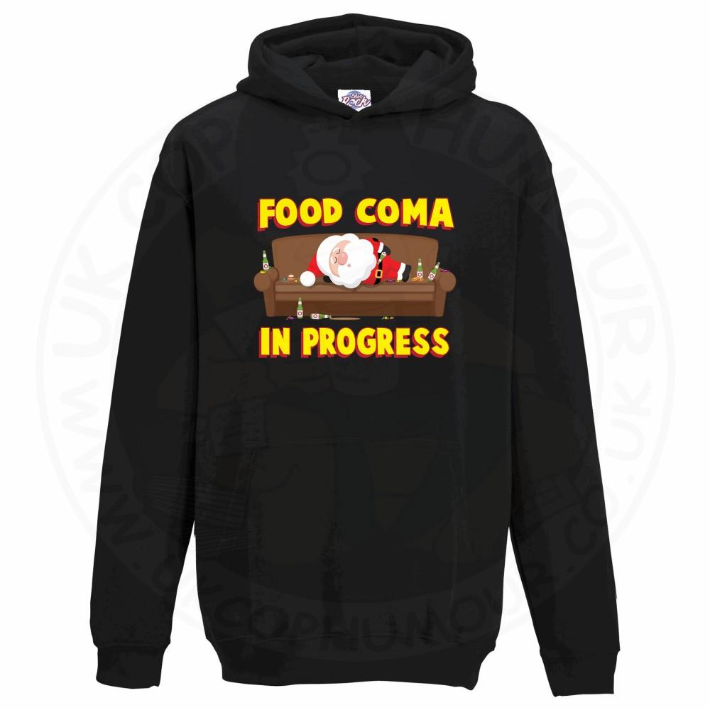 Kids FOOD COMA IN PROGESS Hoodie - Black, 12-13 Years