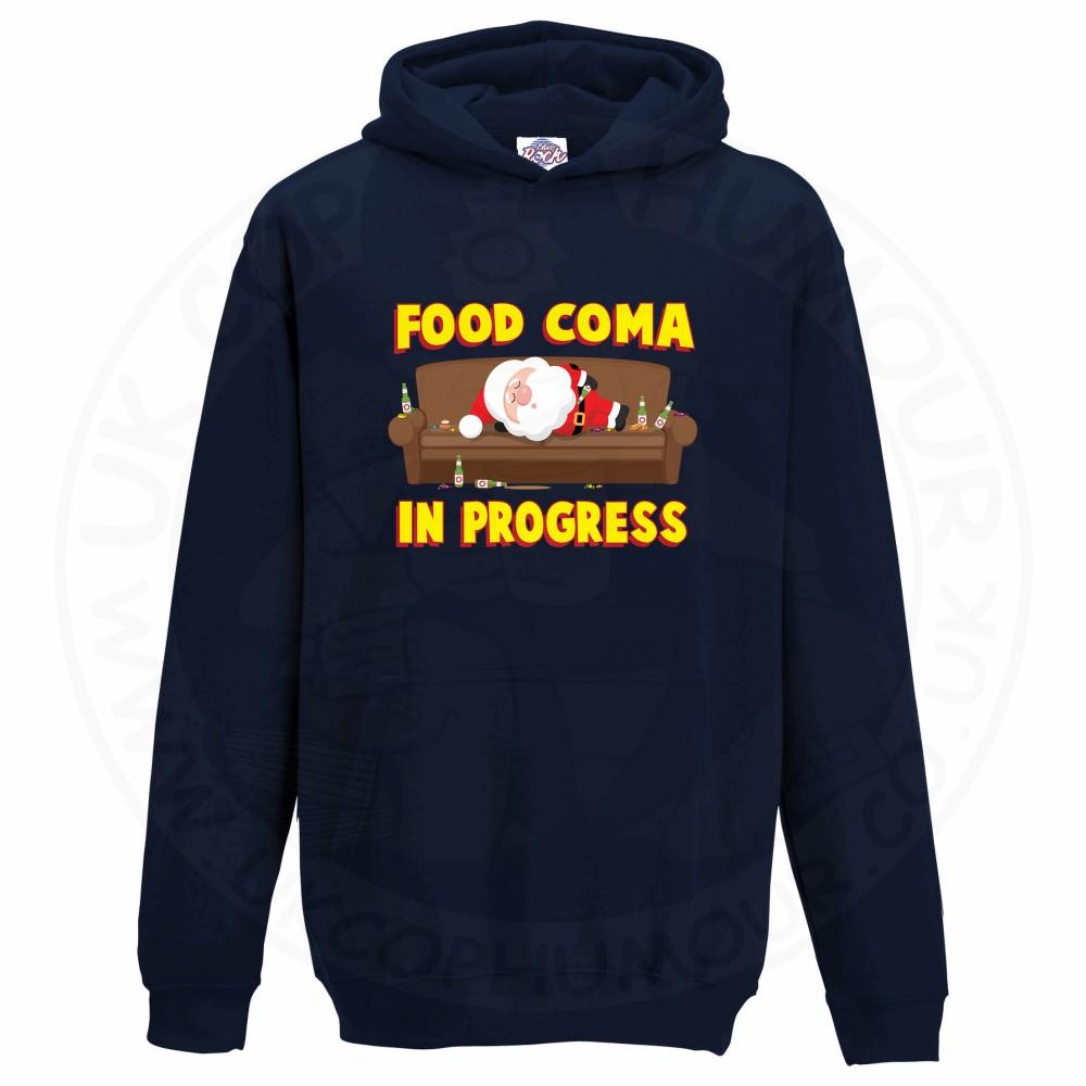 Kids FOOD COMA IN PROGESS Hoodie - Navy, 12-13 Years