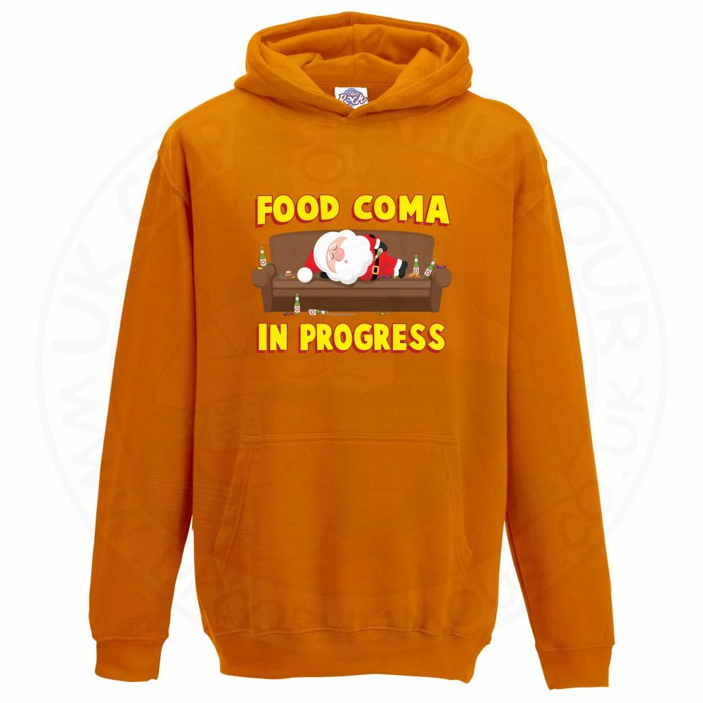 Kids FOOD COMA IN PROGESS Hoodie - Orange, 12-13 Years