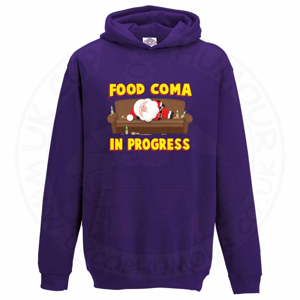 Kids FOOD COMA IN PROGESS Hoodie - Purple, 12-13 Years
