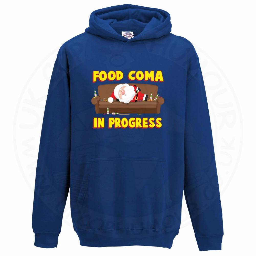Kids FOOD COMA IN PROGESS Hoodie - Royal Blue, 12-13 Years