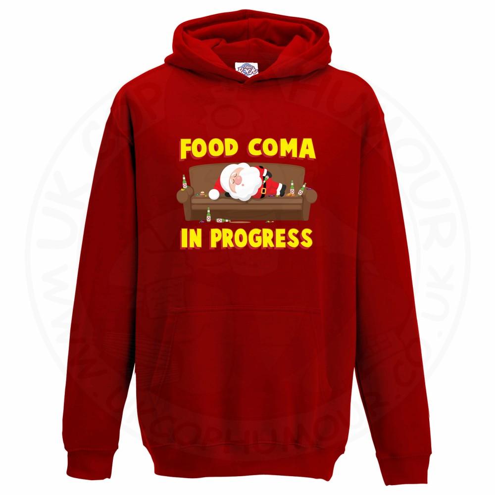 Kids FOOD COMA IN PROGESS Hoodie - Red, 12-13 Years