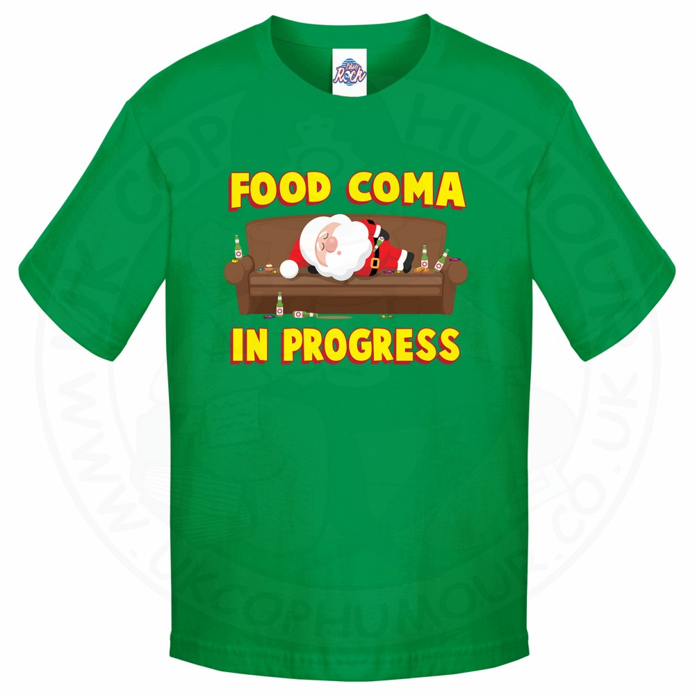 Kids FOOD COMA IN PROGESS T-Shirt - Kelly Green, 12-13 Years