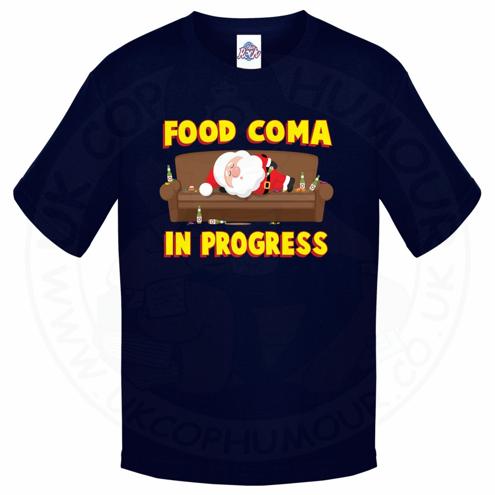 Kids FOOD COMA IN PROGESS T-Shirt - Navy, 12-13 Years