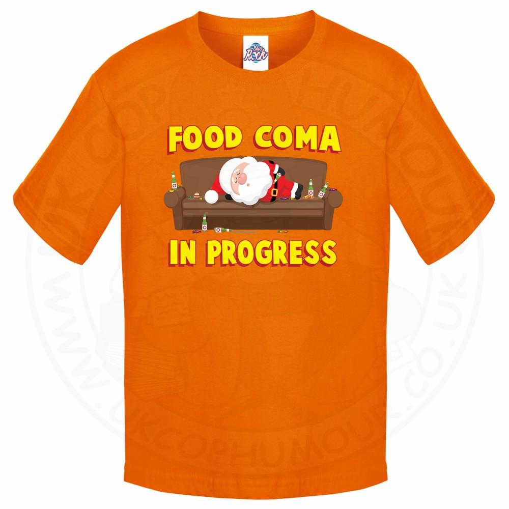 Kids FOOD COMA IN PROGESS T-Shirt - Orange, 12-13 Years