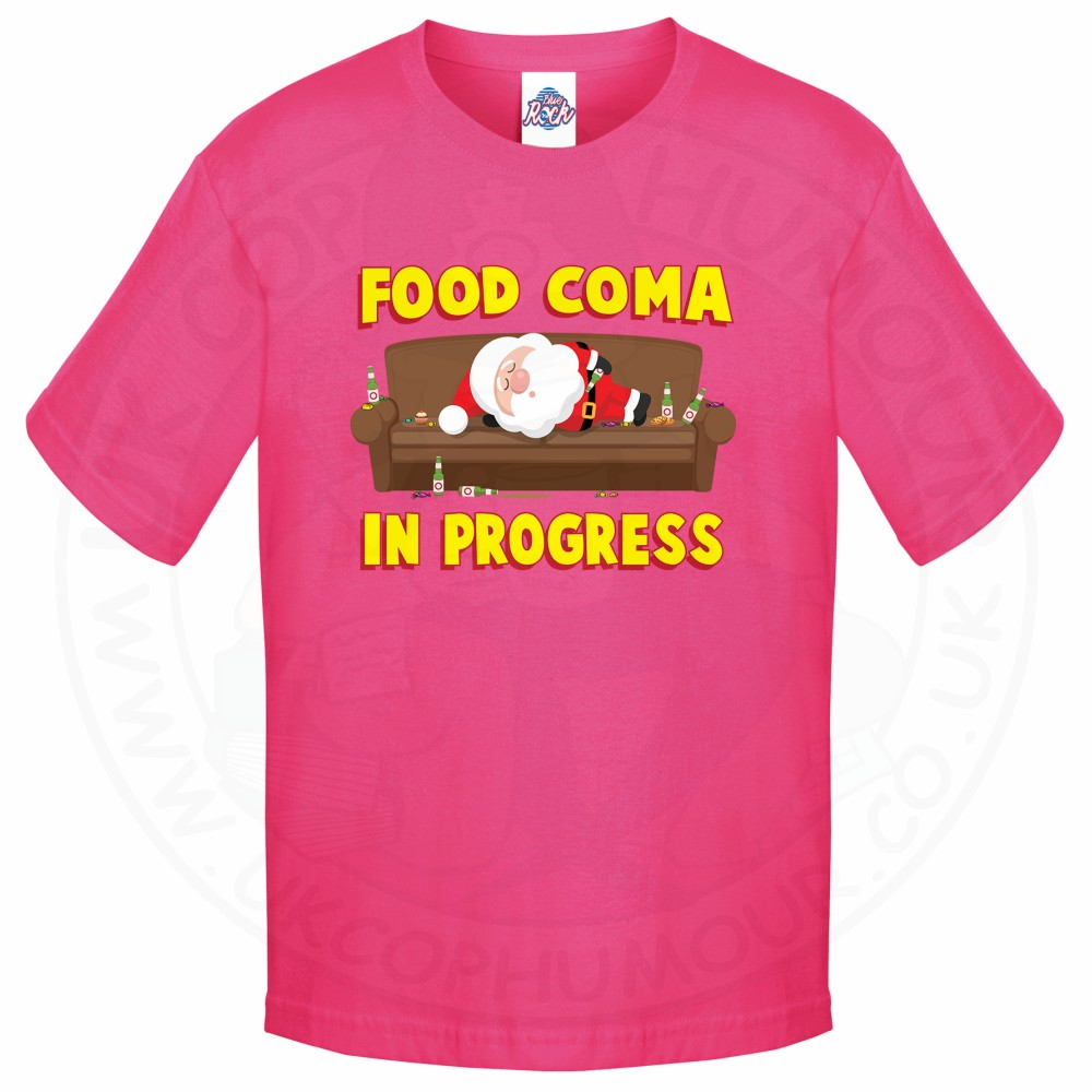Kids FOOD COMA IN PROGESS T-Shirt - Pink, 12-13 Years