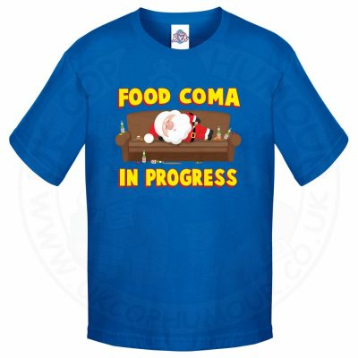 Kids FOOD COMA IN PROGESS T-Shirt - Royal Blue, 12-13 Years