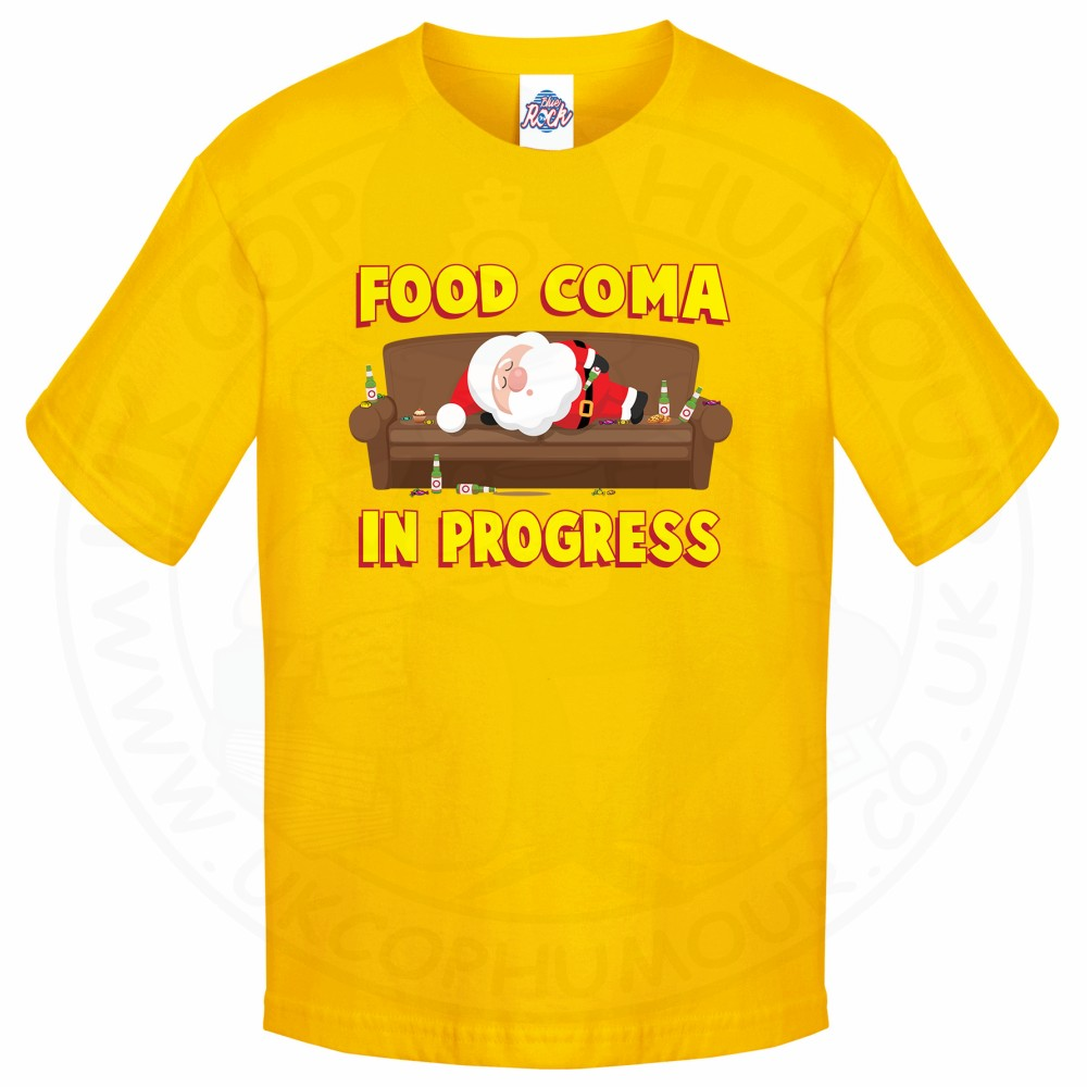 Kids FOOD COMA IN PROGESS T-Shirt - Yellow, 12-13 Years