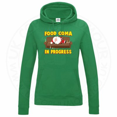 Ladies FOOD COMA IN PROGESS Hoodie - Kelly Green, 18
