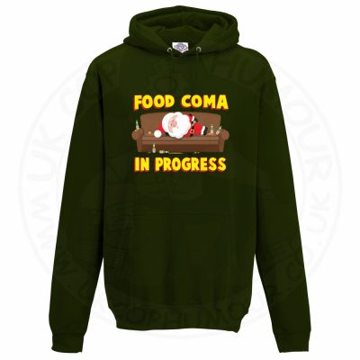Unisex FOOD COMA IN PROGESS Hoodie - Forest Green, 2XL