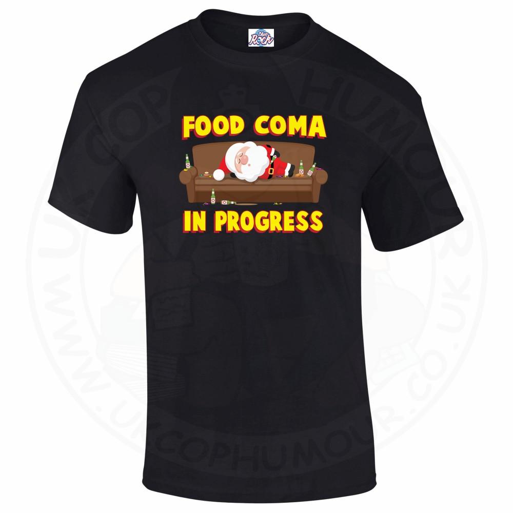 Mens FOOD COMA IN PROGESS T-Shirt - Black, 5XL