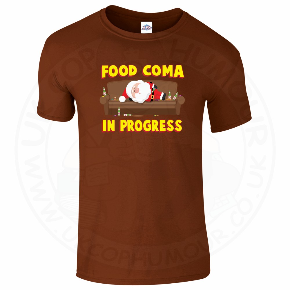 Mens FOOD COMA IN PROGESS T-Shirt - Chestnut, 2XL