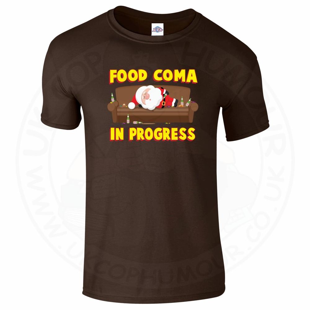 Mens FOOD COMA IN PROGESS T-Shirt - Dark Chocolate, 2XL