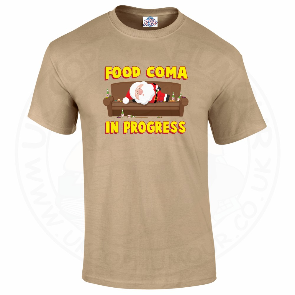 Mens FOOD COMA IN PROGESS T-Shirt - Desert, 2XL