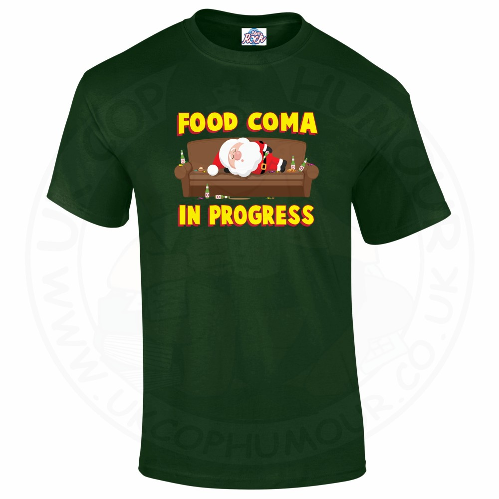 Mens FOOD COMA IN PROGESS T-Shirt - Forest Green, 2XL