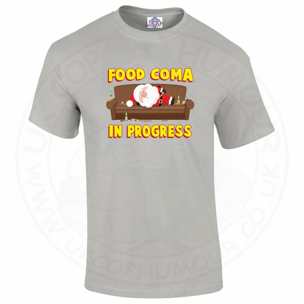 Mens FOOD COMA IN PROGESS T-Shirt - Grey, 5XL