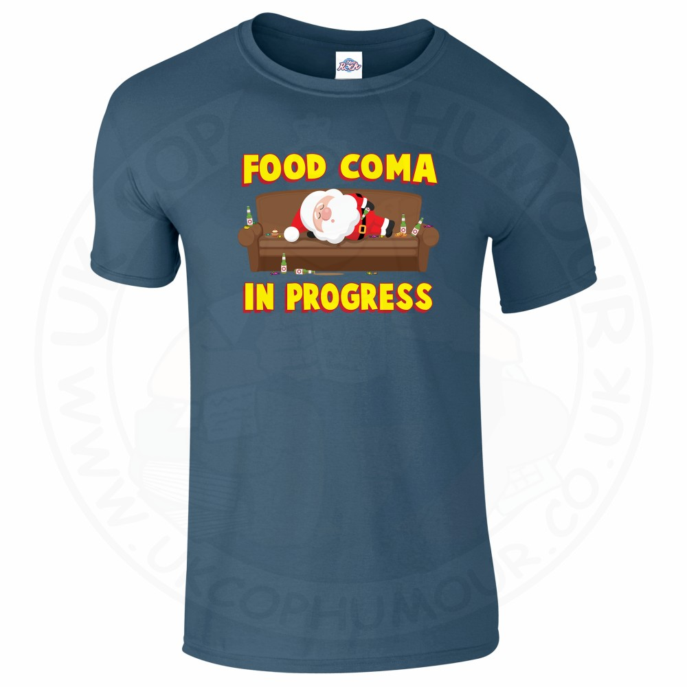 Mens FOOD COMA IN PROGESS T-Shirt - Indigo Blue, 2XL