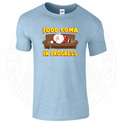 Mens FOOD COMA IN PROGESS T-Shirt - Light Blue, 2XL