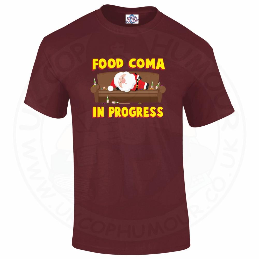 Mens FOOD COMA IN PROGESS T-Shirt - Maroon, 2XL