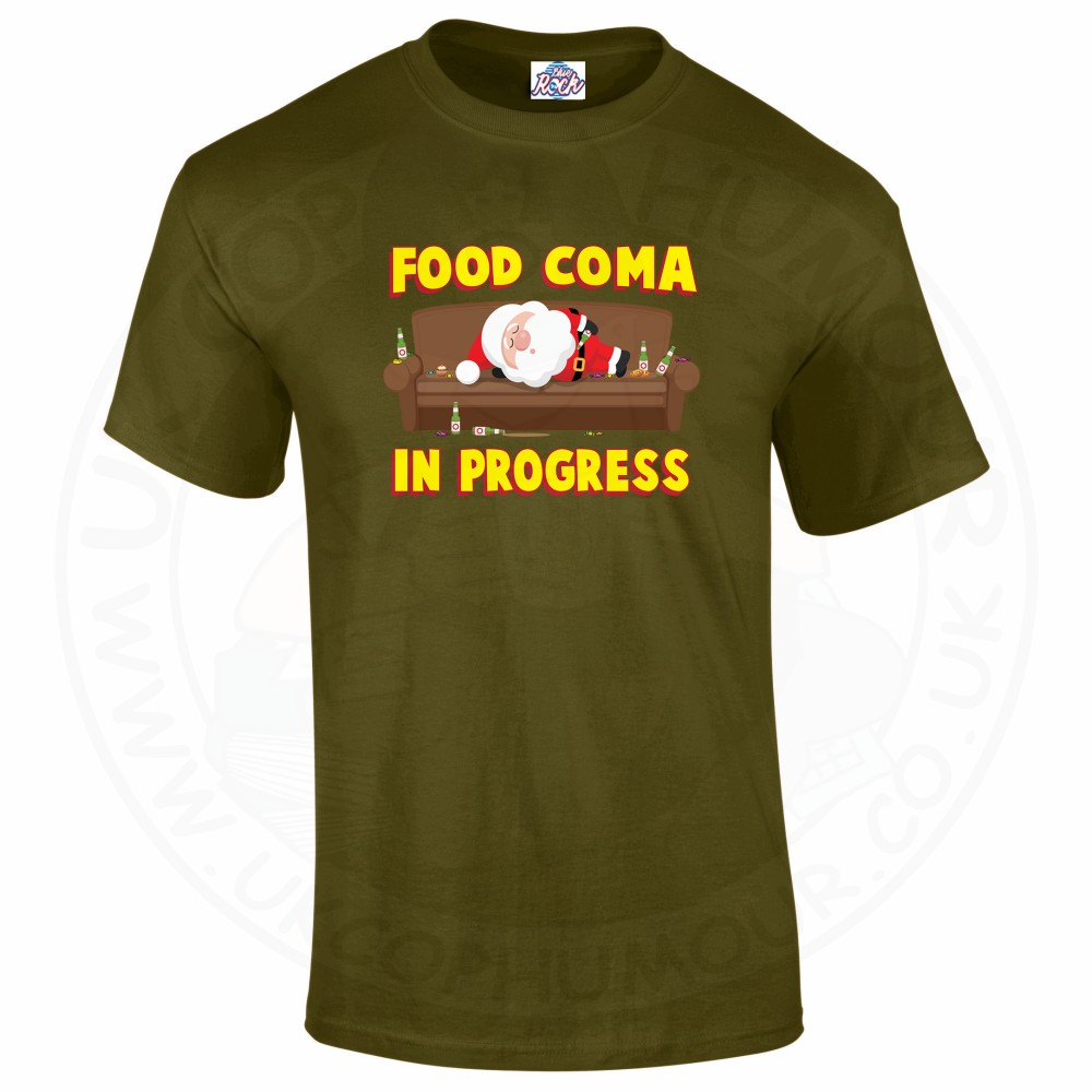 Mens FOOD COMA IN PROGESS T-Shirt - Military Green, 2XL